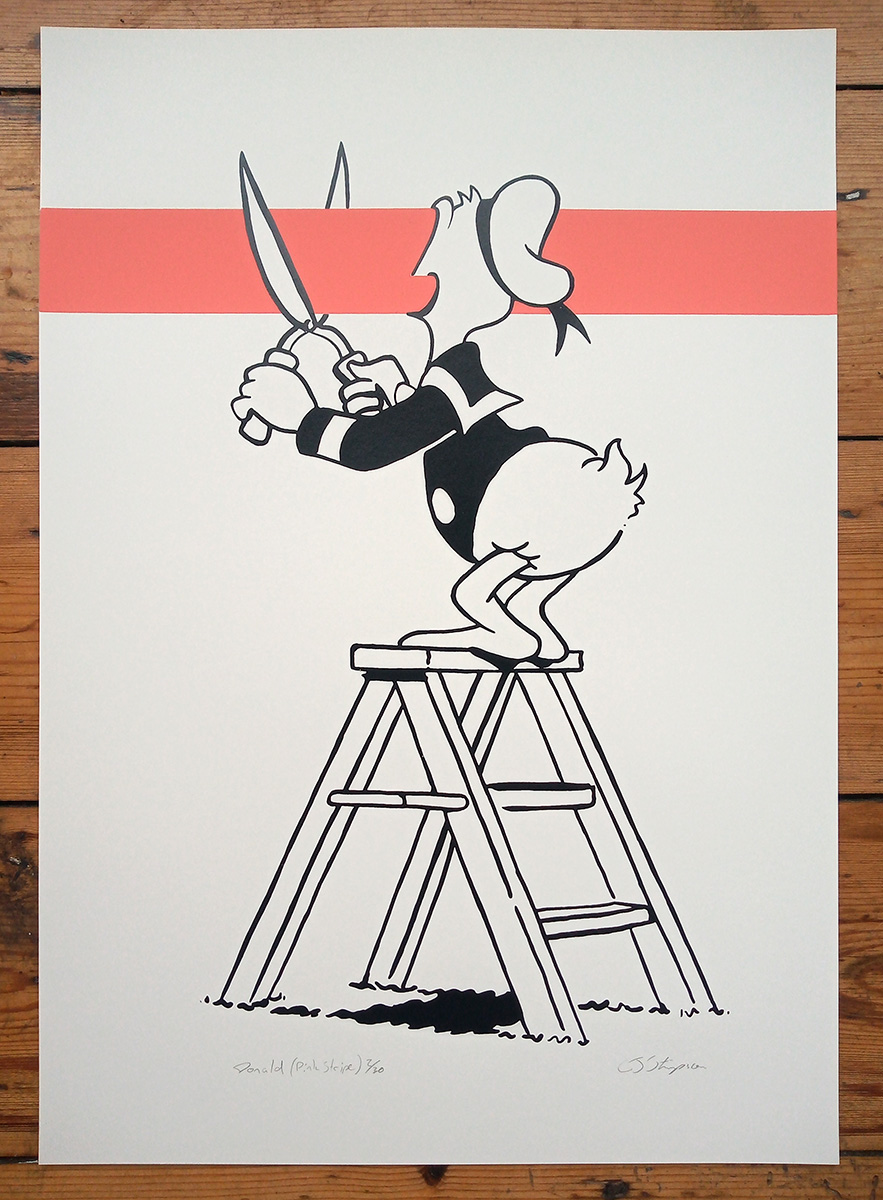 ''Donald - Pink Stripe'' limited edition screenprint by Carl Stimpson