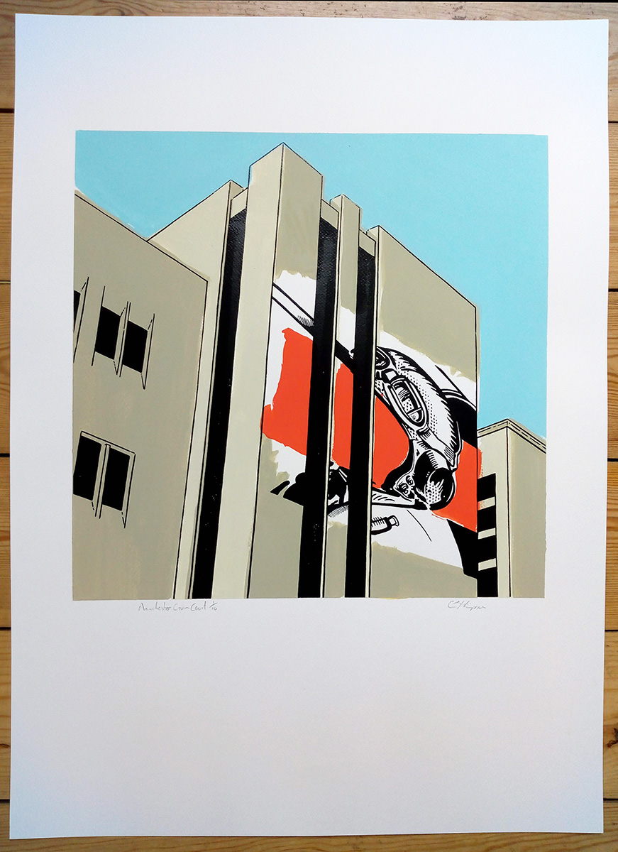 ''Manchester Crown Court'' screenprint by Carl Stimpson