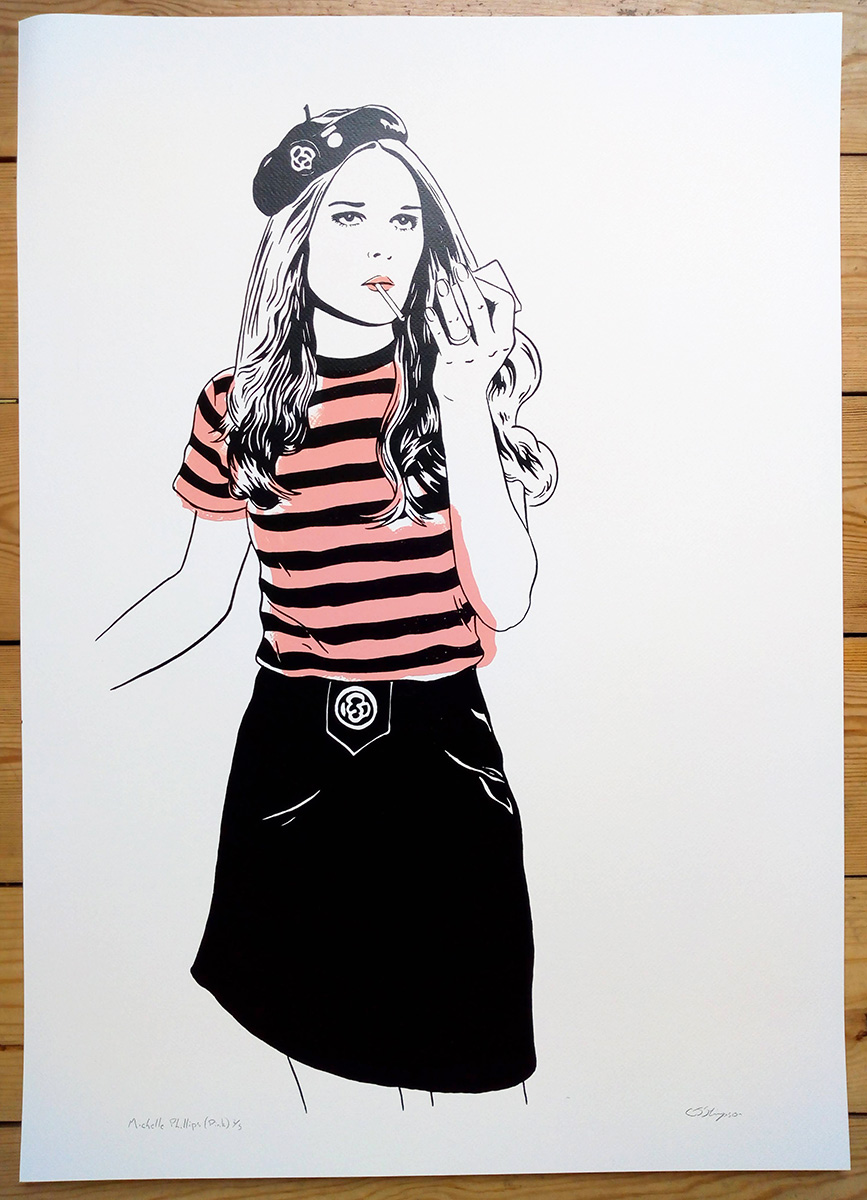 ''Michelle Phillips (Pink)'' limited edition screenprint by Carl Stimpson
