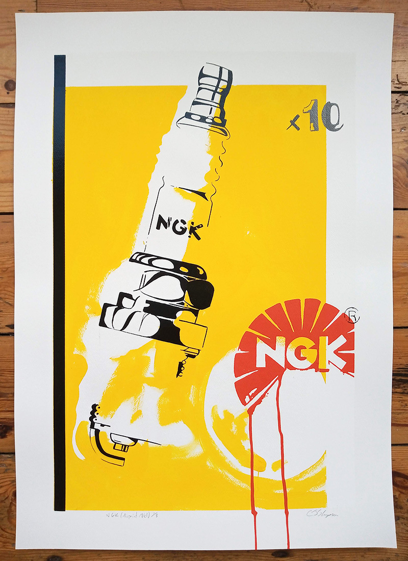 ''NGK (Misprint Mark 1)'' limited edition screenprint by Carl Stimpson