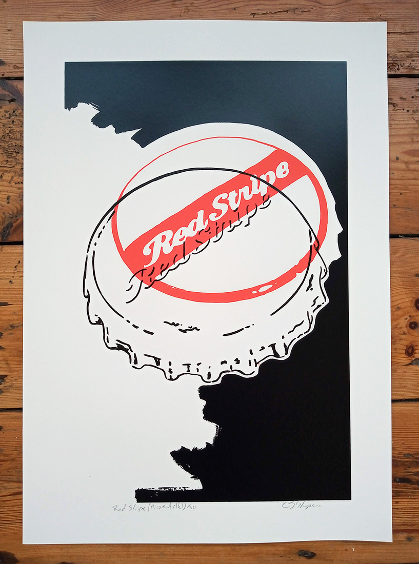 ''Red Stripe (Misprint Mark 1)'' limited edition screenprint by Carl Stimpson