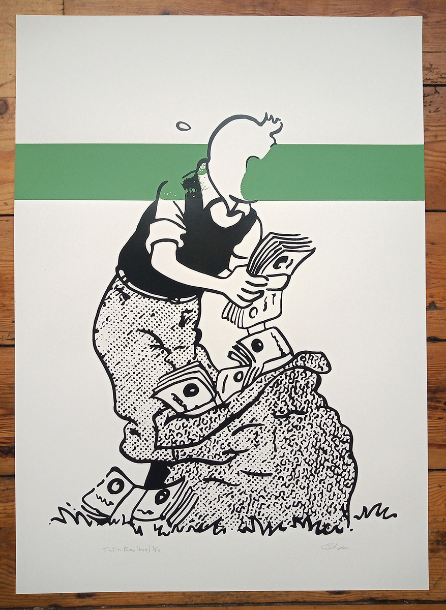 Tintin (Green Stripe) limited edition screenprint by Carl Stimpson