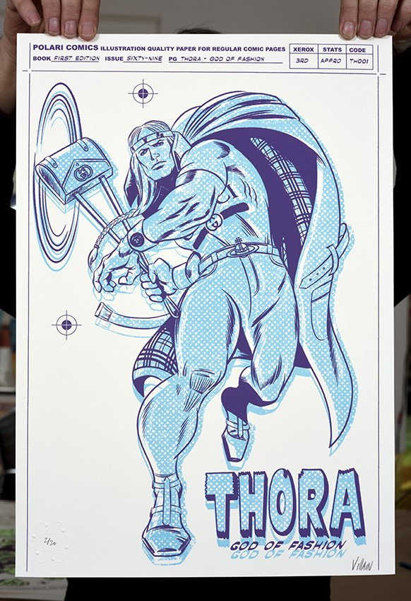 ''Thora, God of Fashion'' screenprint by Villain