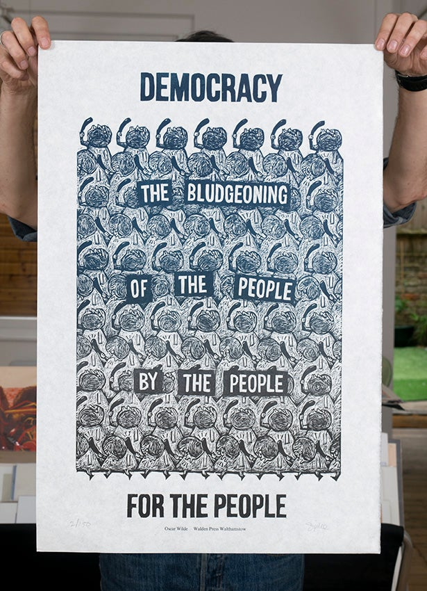 ''Democracy...'' woodcut print by Walden Press