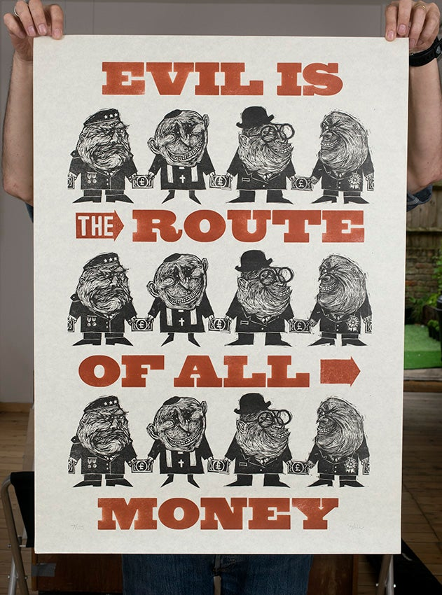 ''Evil is the route...'' letterpress & woodcut print by Walden Press