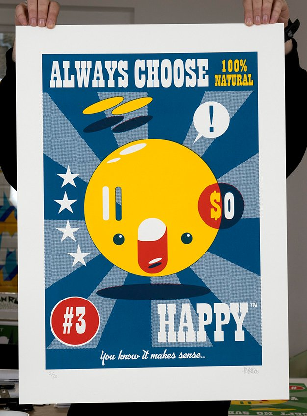 ''Happy™'' limited edition screenprint by Beyond Thrilled