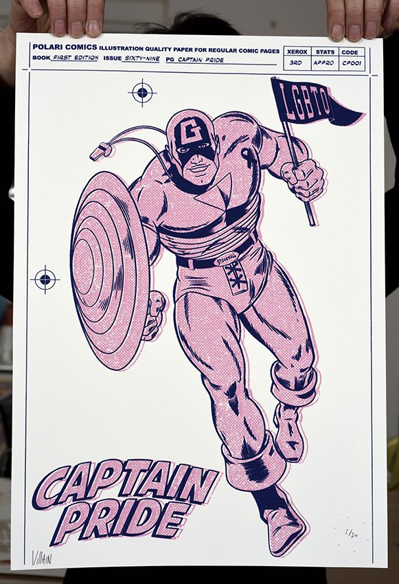 ''Captain Pride'' Limited edition screenprint by Villain