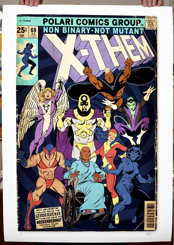 ''X-Them'' limited edition giclée print by Villain