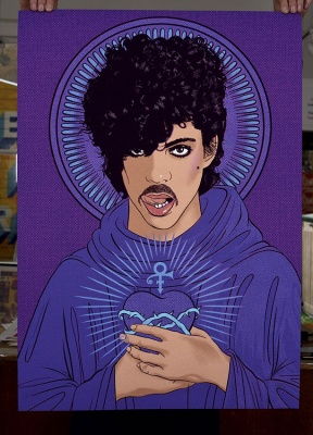 ''Purple Saint'' limited edition giclée print by Villain